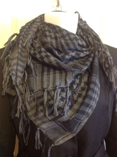 GREY Houndstooth NECK SCARF WRAP SQUARE Classy Pashmina Scarf  37x37 with fringe