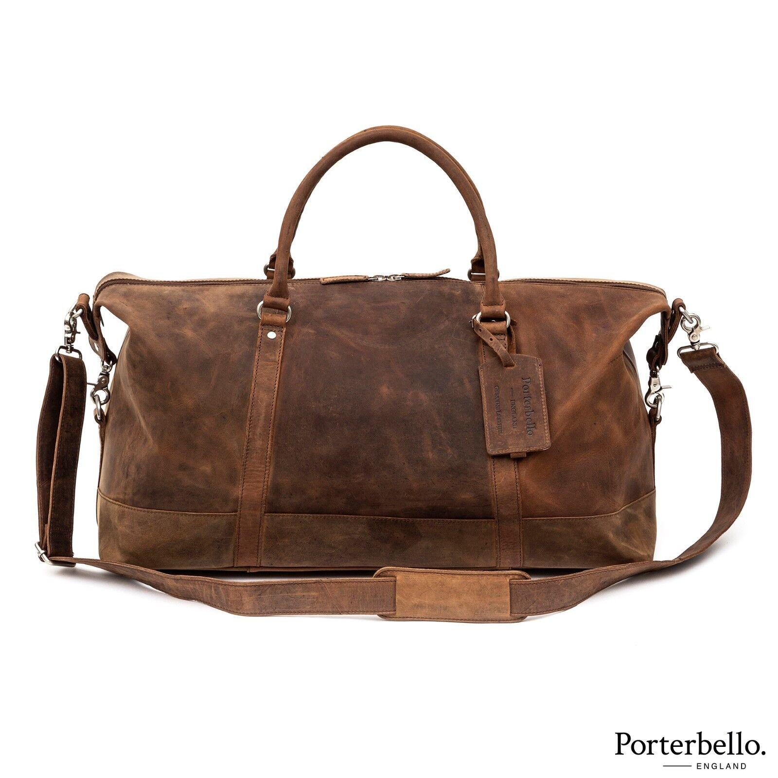 Porterbello en cuir marron Holdall Duffle Weekend Sac