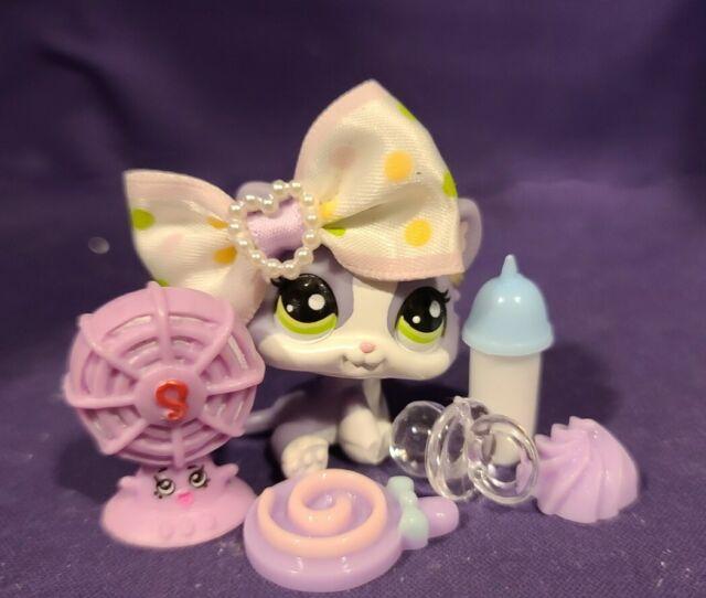 Littlest Pet Shop LPS purple white kitten #2033 Authentic w// Free Gift