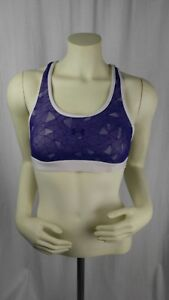 Under-Armour-UA-Womens-Size-L-Heat-Gear-White-Purple-Lace-Overlay-Sports-Bra