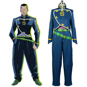 JoJo/'s Bizarre Adventure Nijimura Okuyasu Cosplay Costume Blue Uniform Full Set