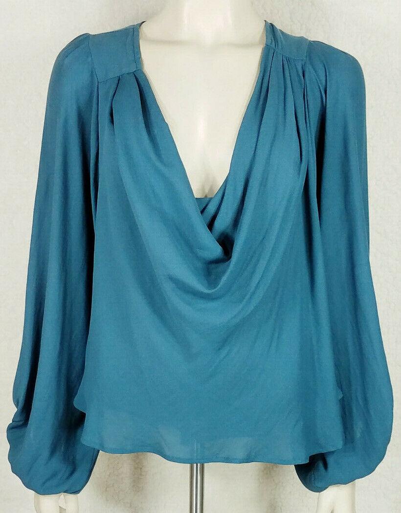 NWT Free People teal Grün draped puff sleeve loose fit blouse ladies juniors XS
