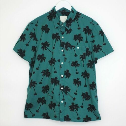 short sleeve T XS vintage Hawaiian shirt in black cotton printed tropical flower red and green foliage 90/' American eagle outfitters