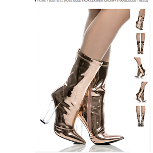 Rose Gold perspex Ankle Bootie Womens Boots Metallic Mirror clear thick heels 10