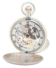 Pocket Watch Gold Plated Twin Lidd Mechanical Skeleton Woodford 1063