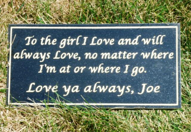 "Dedication memorial plaque 12 x 6/"" custom engraved real granite to 75 characters"