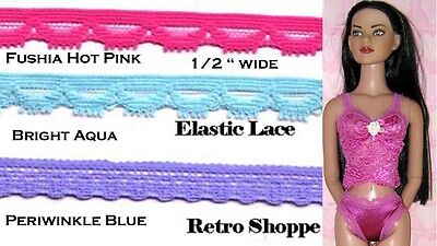 """9 Yds Choice 3 Bright Colors 1/2"""" Wide Elastic Stretch Lingerie Lace Dolls"""