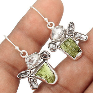 Moldavite-amp-Herkimer-Diamond-925-Sterling-Silver-Earrings-Jewelry-EE171563