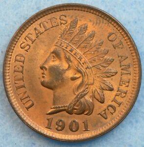 UNCIRCULATED-UNC-1901-Indian-Head-Cent-Penny-Liberty-Original-Color-446