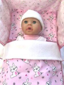 Dolls Pram Cot Bedding Set - Cute Fluffy Bunnies Rabbits ...