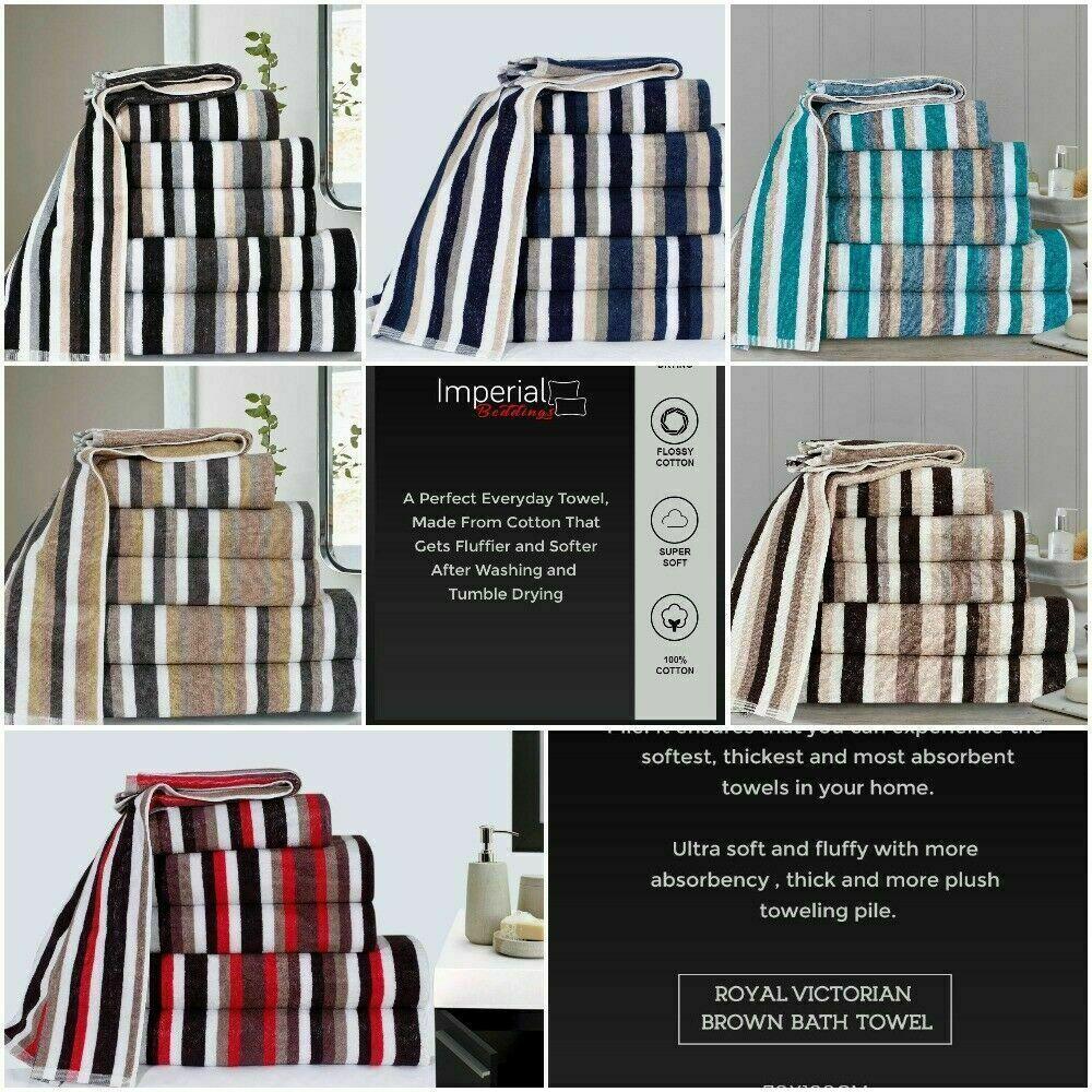 Limited Edition Stripe Bath Towel Bath Sheet and Bale Set Exclusive Range UK