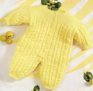 472f0c43ffa2 Knitting Pattern Baby s Cute Cable DK Romper Suit 3-12 Months (13 ...