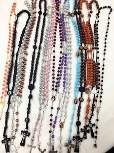 Closeout-30pc-Mix-Lot-Wholesale-Religious-Full-Rosary-Crucifix-Cross-Necklace