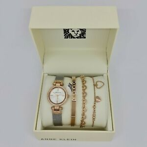 Anne-Klein-AK-3425RTST-Silver-Dial-Two-tone-Ladies-and-Jewelry-Set-Watch