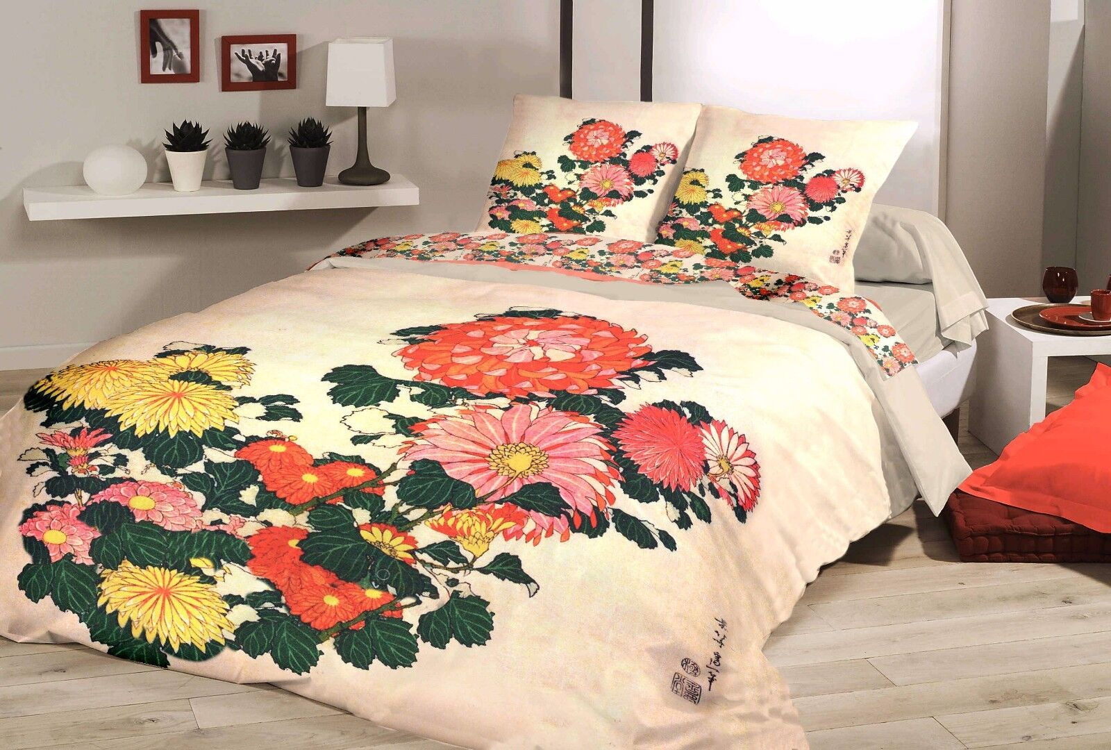 Bettwäsche Blaumen Chrysanthemen Japan Garnitur 2tlg. 135x200+Kissenbezug 80x80