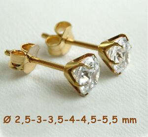 750-ECHT-GOLD-1-Paar-Zirkonia-Ohrstecker-waehlbar-in-2-3-4-5-mm