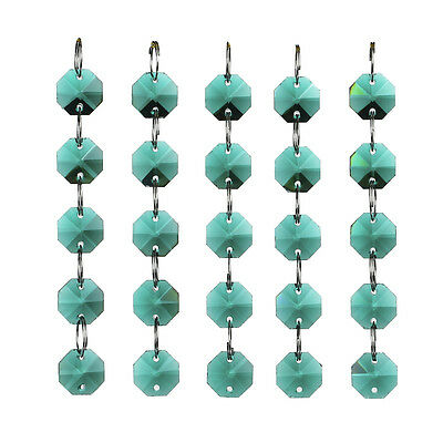 H/&D Clear Octagon 2 Holes Beads Crystal Chandelier Lamp Parts Prism Ornament