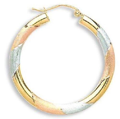 9CT HALLMARKED YELLOW pink & WHITE gold TWIST 30MM HOOP EARRINGS