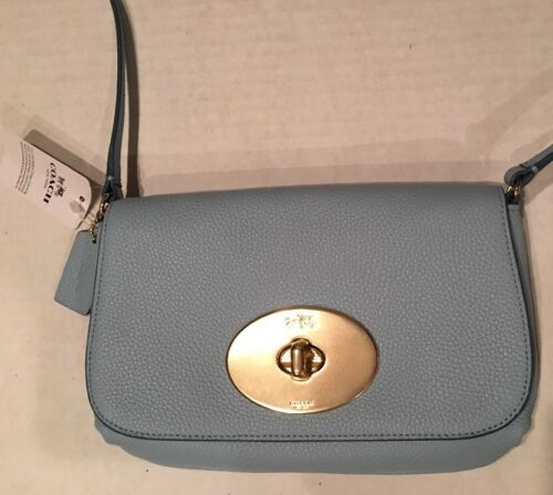 NEW Coach Pale Blue Turnlock Pebbled Leather Cross-body Bag Shoulder Bag F52896