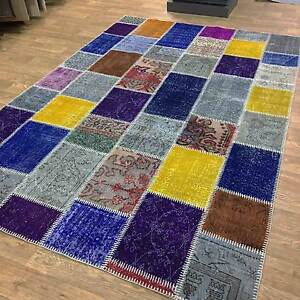 Details About Large Modern Persian Patchwork Handmade Antique Vintage Rugs 190x283cm Remade