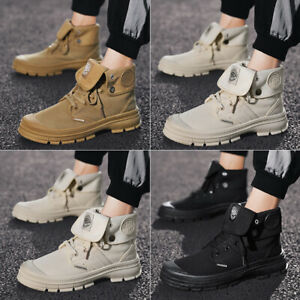 Men-039-s-Canvas-Outdoor-Ankle-Boots-Fashion-Lace-Up-High-Top-Combat-Martin-Shoes