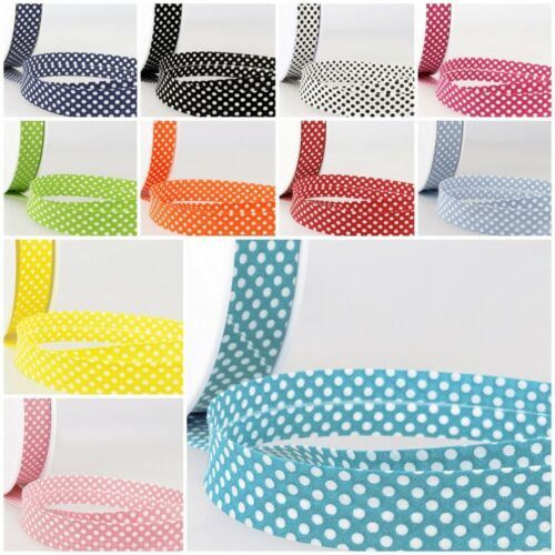 11 Colours Free Post Stephanoise Best Quality Dotty Cotton Bias Binding 20mm