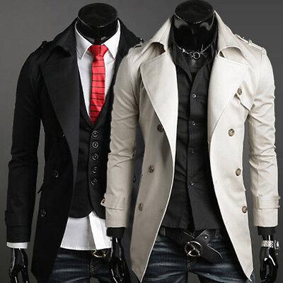 Premium Designer Handsome Mens Formal Slim Fit Double Breasted Trench Pea Coat