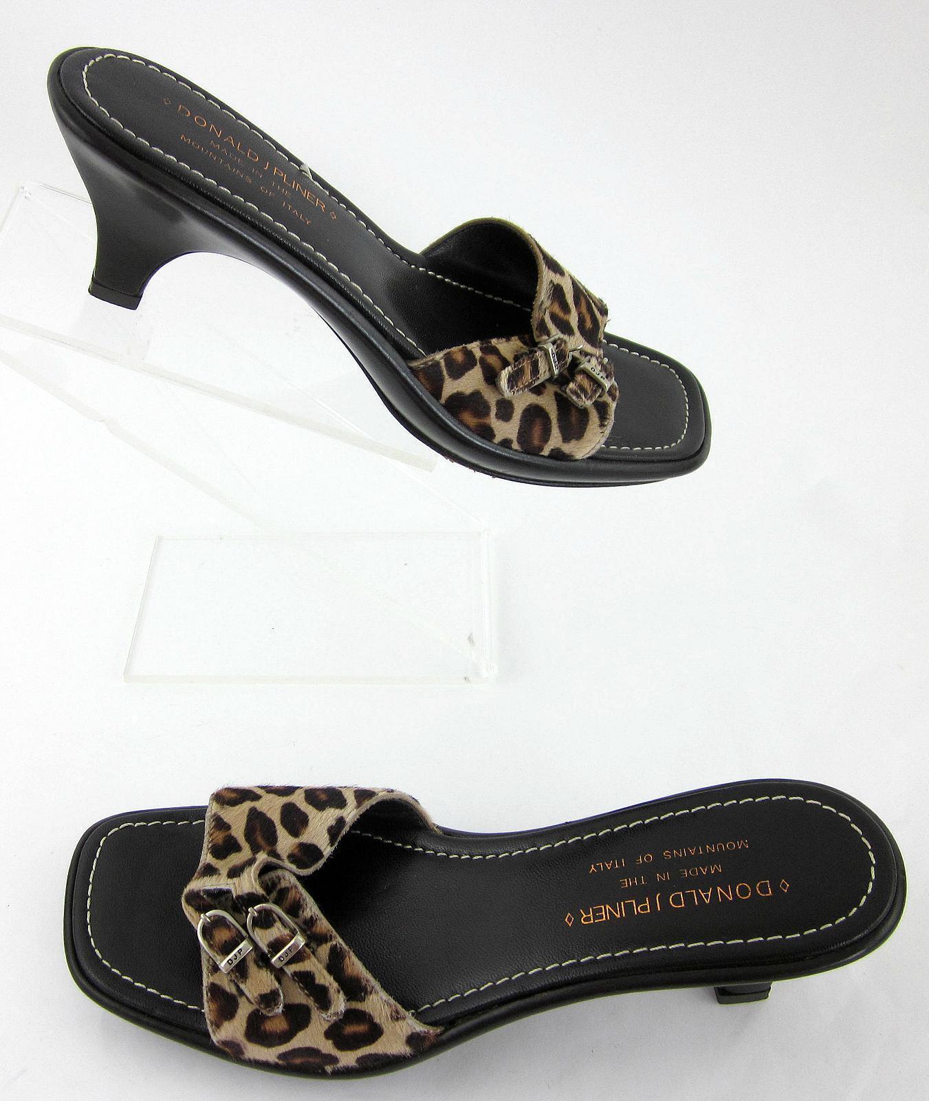 Donald J Pliner Open Toe Pony Hair Sandales Cheetah Print Sz 7.5M Made In