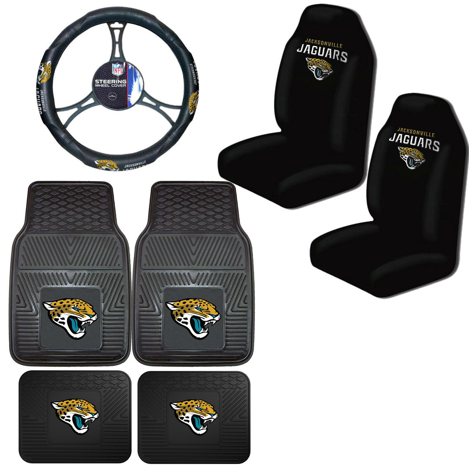 Marvelous Nfl Jacksonville Jaguars Car Truck Seat Covers Floor Mats Steering Wheel Cover Theyellowbook Wood Chair Design Ideas Theyellowbookinfo