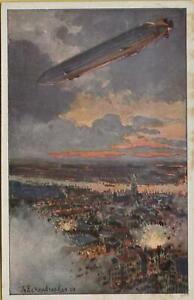 758-AK-Postkarte-Zeppelin-Stuttgart-1915-Deutscher-Luftflotten-Verein