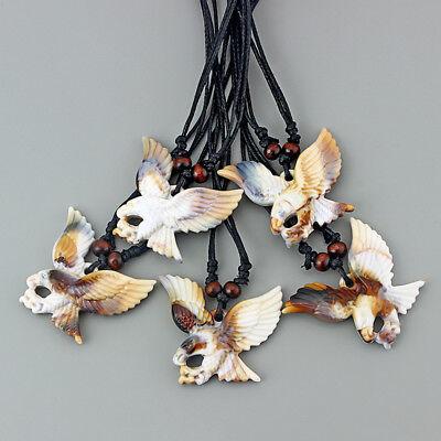 """1pcs Faux Yak Bone Flying Eagle Birds Pendant Necklace 13/"""" adjustable"""