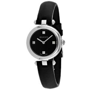 ef1cd0692e3 Gucci DIAMANTISSIMA Black Dial 27mm Leather Swiss Quartz Women s Watch  YA141506