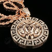 14k Rose Gold Medusa Pendant Iced Out Link Chain Hip Hop Necklace Medusa4r