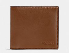 NEW MEN COACH Sport Calf Leather Double Billfold Wallet Dark Saddle F75084 $150
