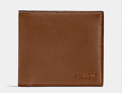 Coach Men/'s F75084 Double Billfold Wallet Dark Saddle Sport Calf Leather NWT$150