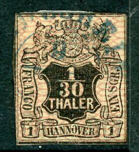 Germany-1856-Hannover-1-30-Thaler-Black-amp-Rose-Large-Mesh-SG-15-VFU-F968