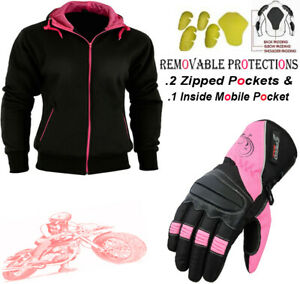 LADIES-PINK-BLACK-FLEECE-HOODIE-REMOVABLE-CE-ARMOUR-MOTORBIKE-MOTORCYCLE-JACKET