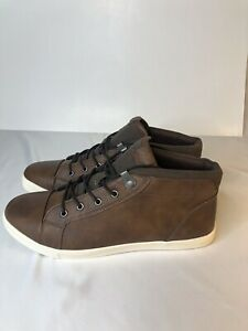 mens aldo mid top leather tow lace up casual shoesbronze