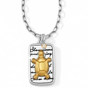NWT-Brighton-NATURE-039-S-WISDOM-TURTLE-Slow-Down-Enjoy-Life-Necklace-Gold-MSRP-42