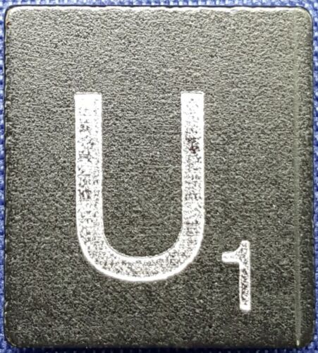 Scrabble Tiles Replacement Letter U Black Wooden Craft Game  Piece Diamond Ann.