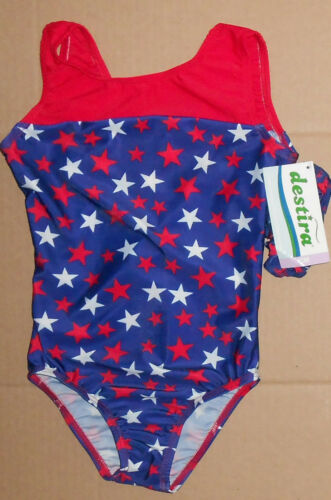 NWT Destira Gymnastic Blue Leotard with Red and White Stars Med Child 8-10