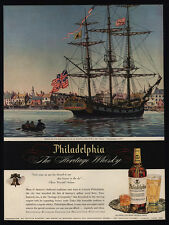 1945 PHILADELPHIA Whisky - 1775 USS Man-O-War Ship - Alfred - VINTAGE AD