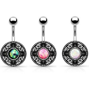 Details About Faux Resin Opal Vintage Tribal Belly Button Ring Navel Piercing Jewelry 316l