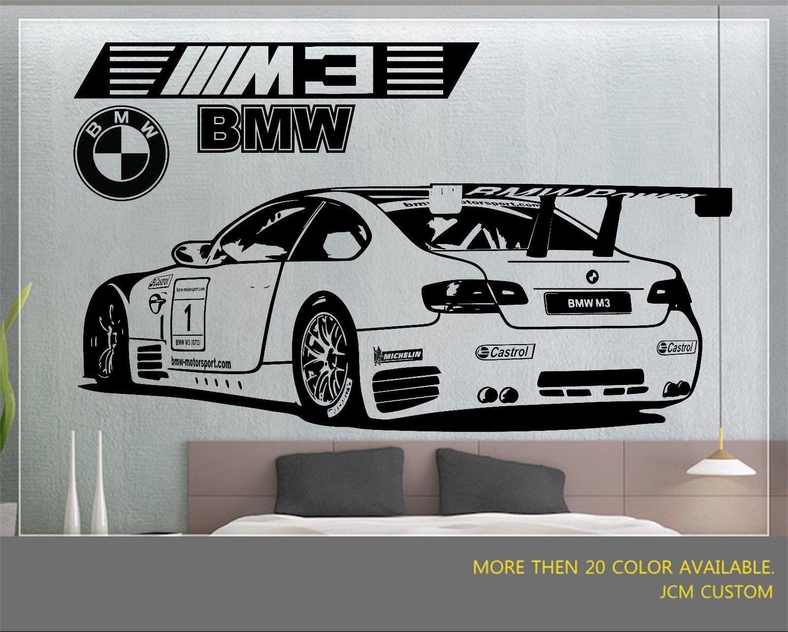 BMW M3 GT2 M-Power Racing Sports Car desmontable de parojo de vinilo autoadhesivo con