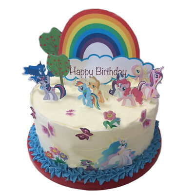 My Little Pony Happy Birthday Scene Edible Premium Wafer Paper Cake Topper