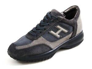 Hogan Fashion Sneakers Gray Suede Blue Denim Womens size US 7 EU ...