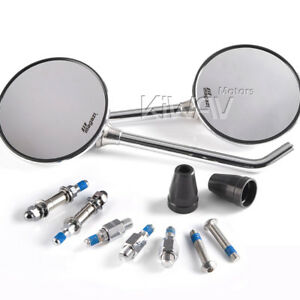 Magazi-mirrors-steel-metal-roundie-round-shape-chrome-10mm-amp-5-16-034-motorcycle