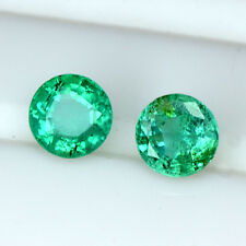 0.74 Cts Natural Emerald Fine Green Loose Gemstone Round Cut pair Zambia 4 mm $