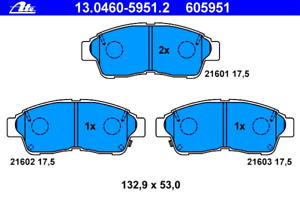 ATE 13.0460-5951.2 Bremsbelagsatz Scheibenbremse
