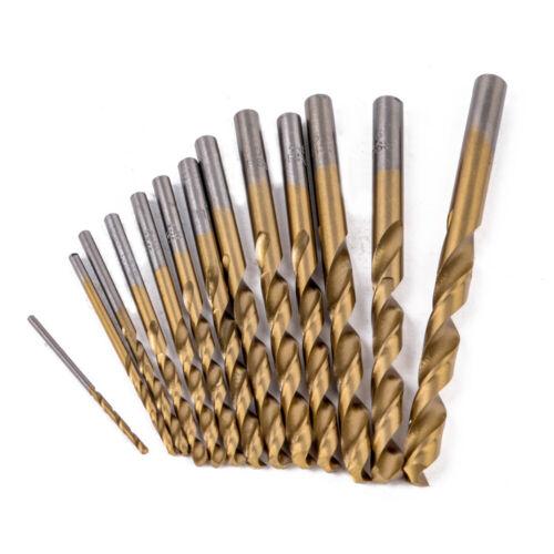 HSS Drill Bits 1-12mm Titanium Tin Coated Twist Jobber Drills for Metal Wood